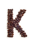 Coffee beans. Letter made of coffee beans stock photography