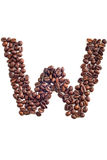 Coffee beans. Letter made of coffee beans stock image