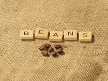 Coffee beans, and the letters BEANS on a hessian background. Melbourne 2017 stock images