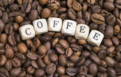 Coffee beans with letters Stock Photo