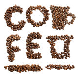 Coffee beans letters and symbols set. Characters and symbols for coffee word and theme shaped from real roasted coffee beans, isolated on white background Stock Photos