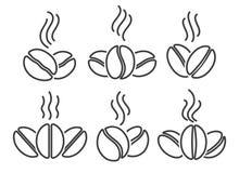 Coffee beans line icons set stock illustration