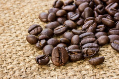 Coffee beans on linen Royalty Free Stock Photo