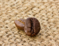 Coffee beans on linen Stock Photo