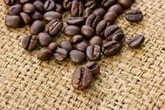 Coffee beans on linen Stock Photography