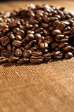 Coffee beans on linen background Stock Photography