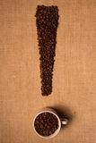 Coffee beans on linen background (exclamation) Stock Image