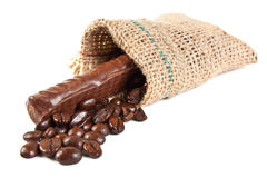 Coffee beans in a linen sac Royalty Free Stock Photo