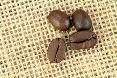 Coffee beans on a linen sack. Macro shot Royalty Free Stock Photography
