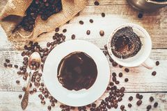 Coffee beans.  Love. Coffee beans. Selective focus. Food Royalty Free Stock Photography