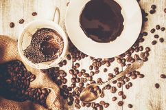 Coffee beans.  Love. Coffee beans. Selective focus. Food Royalty Free Stock Photo