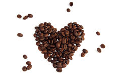 Coffee beans in a love heart Royalty Free Stock Photo