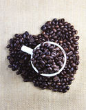 Coffee beans with love Royalty Free Stock Images