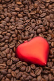 Coffee beans and love symbol. Coffee beans and red heart Stock Photos