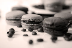 Coffee beans and macarons Stock Photography