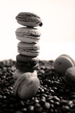 Coffee beans and macarons Royalty Free Stock Images