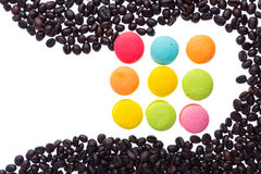 Coffee beans and macaroons Royalty Free Stock Images