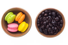 Coffee beans and macaroons Stock Image