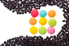 Coffee beans and macaroons Royalty Free Stock Photo