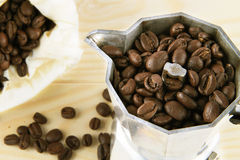 Coffee beans. In coffee machine Stock Images