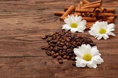 Coffee beans. Magic beans of coffee with rich aroma adorned with white flowers Royalty Free Stock Photo