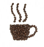 Coffee beans make coffee cup shape Royalty Free Stock Images