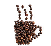 Coffee beans make same cup concept isolated Stock Photo