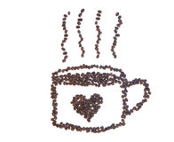 Coffee beans makes a cup of coffee with heart Stock Images