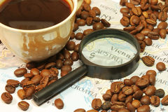 Coffee beans at map Royalty Free Stock Images
