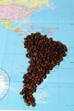 Coffee beans and map Royalty Free Stock Image