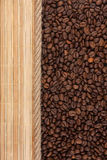 Coffee beans, mat and rope for the menu Stock Image