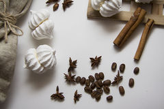Coffee beans with meringues Royalty Free Stock Photo