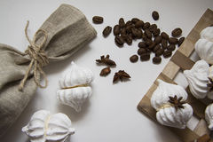 Coffee beans with meringues Royalty Free Stock Photography