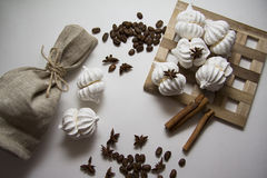 Coffee beans with meringues Royalty Free Stock Image