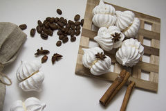 Coffee beans with meringues Royalty Free Stock Photos