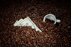 Coffee beans with money. Coffee business concept Stock Photography