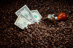 Coffee beans with money. Coffee business concept Royalty Free Stock Photo