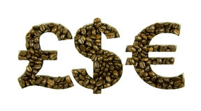 Coffee beans in money shapes Royalty Free Stock Photo