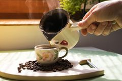 Coffee beans. Morning cup of coffee,coffee beans Royalty Free Stock Image