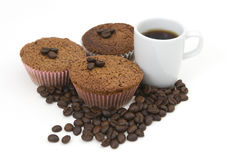 Coffee beans , muffin and coffee cup Stock Photography