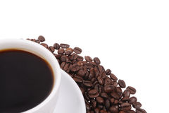 Coffee beans with mug Royalty Free Stock Image