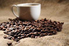 Coffee beans with mug Royalty Free Stock Images