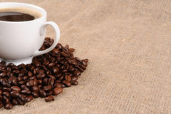 Coffee beans with mug Royalty Free Stock Photos