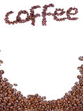 Coffee beans and name. A display of fresh coffee beans and the name coffee spelled out in beans on a white background Stock Image