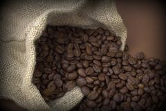 Coffee beans in a natural sack on brown background Stock Images