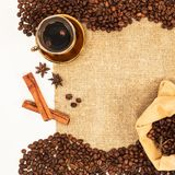 Coffee beans on natural wicker background Royalty Free Stock Photo