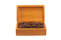 Coffee beans in the old box isolated Royalty Free Stock Photo