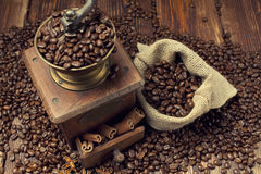 Coffee beans and old grinder Stock Image