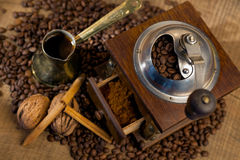 Coffee beans and old mill Royalty Free Stock Photo