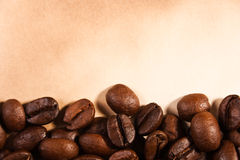 Coffee beans on old paper Stock Photo